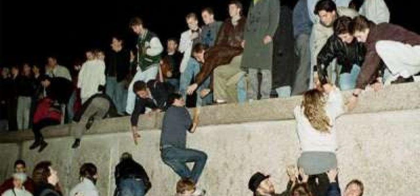 1989: The Berlin Wall is Breached - hands are linked